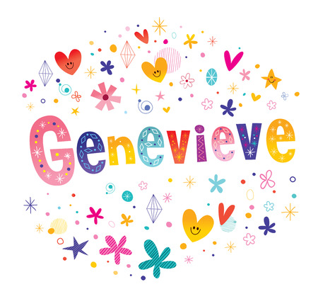 Genevieve girls name decorative lettering type design