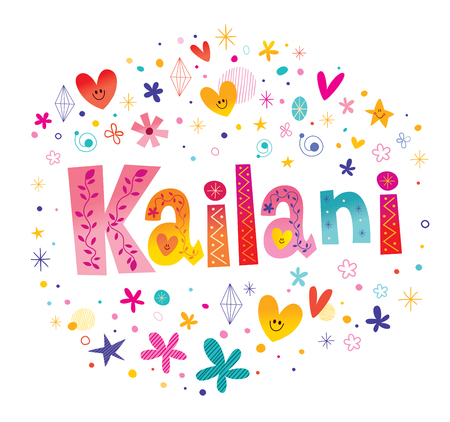 Kailani girls name decorative lettering type design  イラスト・ベクター素材