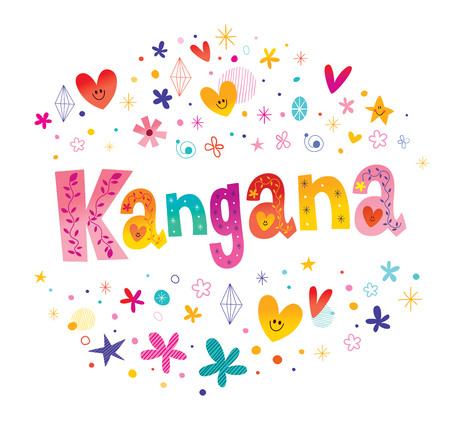 Kangana girls name decorative lettering type design