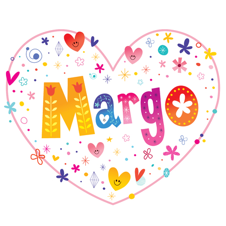 Margo - feminine given name decorative lettering heart shaped love design