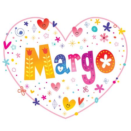 Margo - feminine given name decorative lettering heart shaped love design