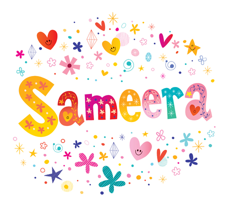 Sameera girls name decorative lettering type design