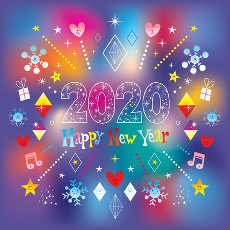 Biglietto di auguri di felice anno nuovo 2020 Vettoriali