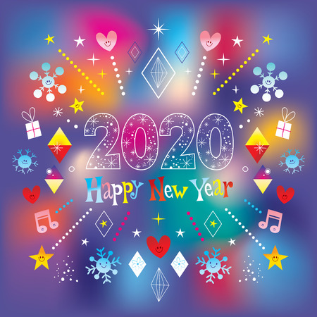 Carte de voeux de bonne année 2020 Vecteurs