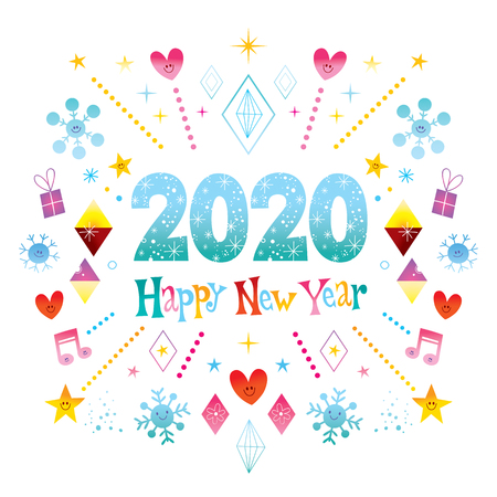 Happy New Year 2020 greeting card Фото со стока - 118424455
