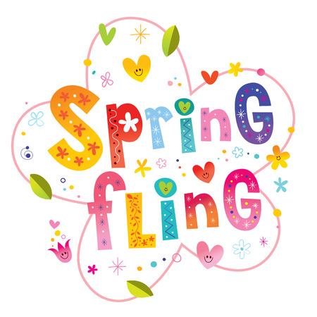 Spring fling - romantic love lettering design Ilustração