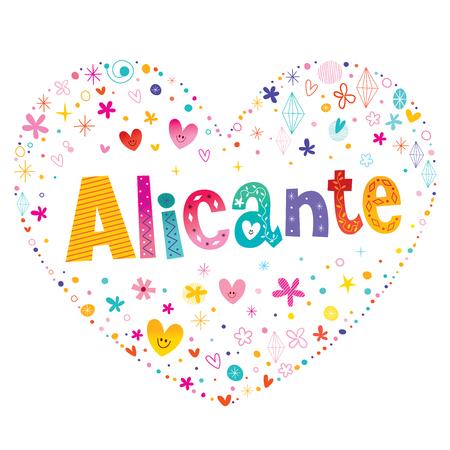 Alicante - city in Spain heart shaped type lettering design Ilustração