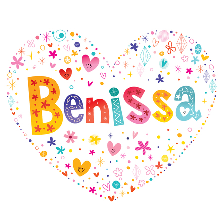 Benissa - a town in Spain - decorative lettering heart shaped love design