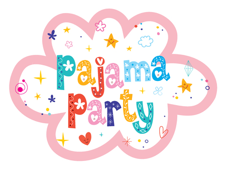pajama party unique lettering design