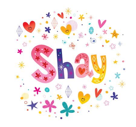 Shay girls name decorative lettering type design  イラスト・ベクター素材