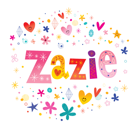 Zazie girls name decorative lettering type design