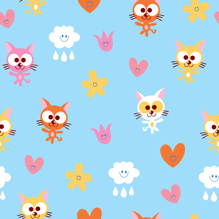 cute kittens clouds hearts and flowers seamless pattern