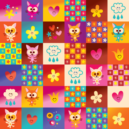 cute kittens hearts and flowers pattern