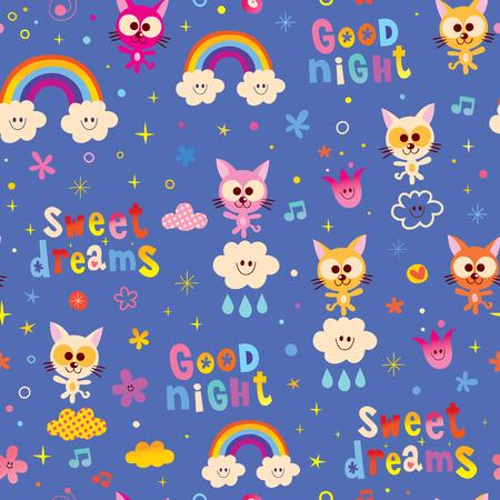 good night sweet dreams seamless pattern with cute kittens Stock Illustratie