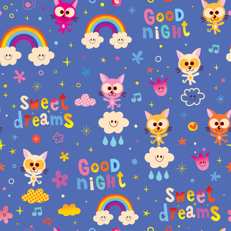 good night sweet dreams seamless pattern with cute kittens Illustration