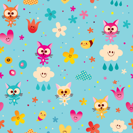 cute kittens, clouds, hearts and flowers seamless pattern