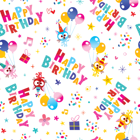Happy Birthday seamless pattern with cute kittens