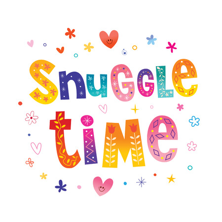 Snuggle Time - decorative lettering romantic design 版權商用圖片 - 120478324