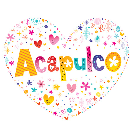 Acapulco city in Mexico heart shaped type lettering design