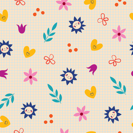 flowers hearts nature seamless pattern with notebook paper background 向量圖像