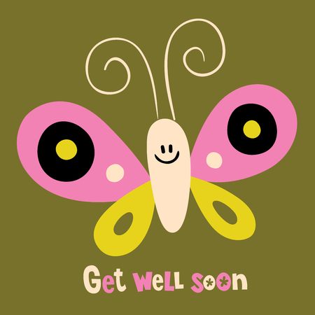 Get well soon greeting card with butterfly Stock Illustratie