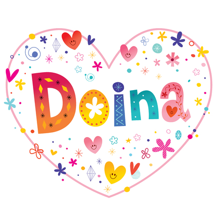 Doina girls name decorative lettering heart shaped love design