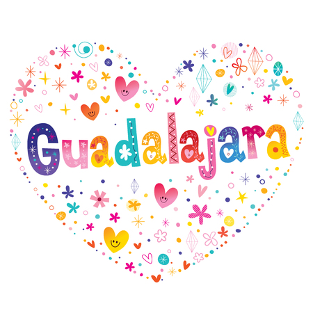 Guadalajara - city in Mexico - heart shaped type lettering design