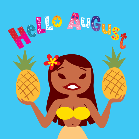 Hello August - greeting card with beautiful hula girl Ilustração
