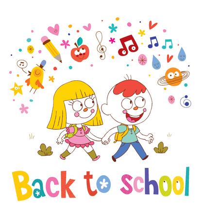 Kleiner Junge und Mädchen gehen zurück zur Schule