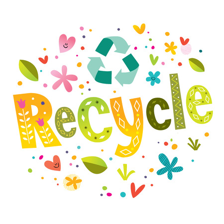recycle symbol with lettering Vectores
