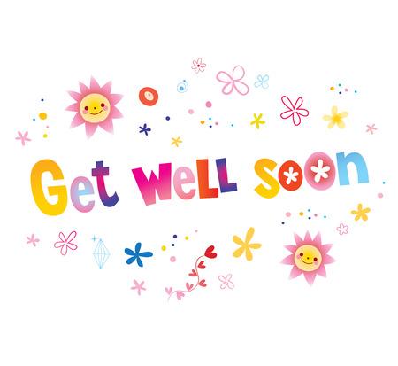 Get well soon greeting card Vektoros illusztráció