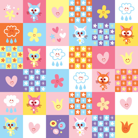 cute kittens clouds and flowers pattern Illusztráció