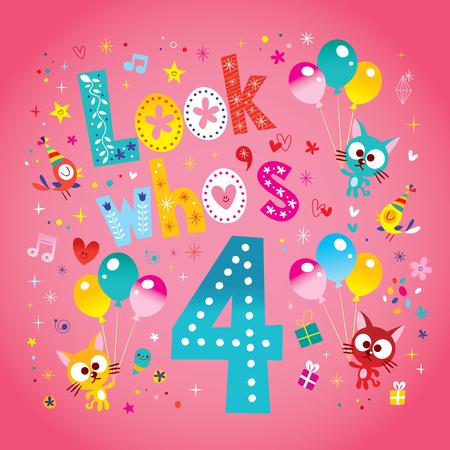 fourth birthday card with cute kittens 向量圖像