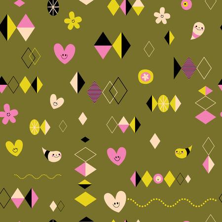 Funky retro style seamless pattern 向量圖像