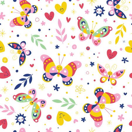 Butterflies nature seamless pattern