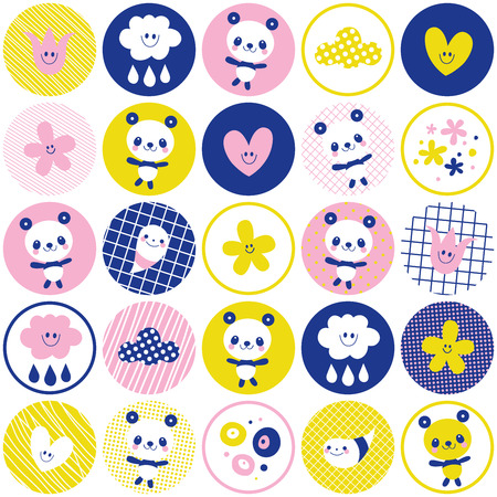 circles pattern with baby panda bears, flowers and clouds Ilustração