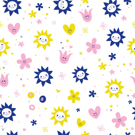 cute flowers seamless pattern 向量圖像