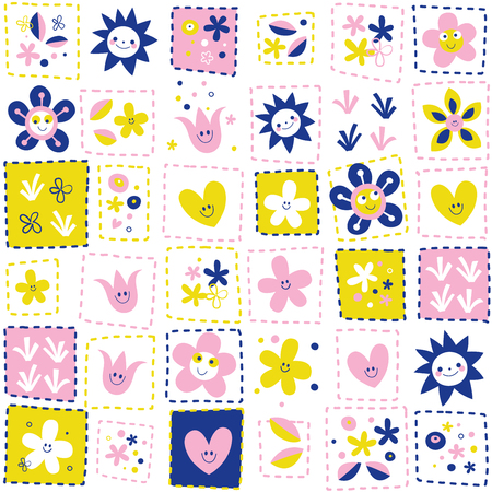 happy flowers pattern Ilustrace
