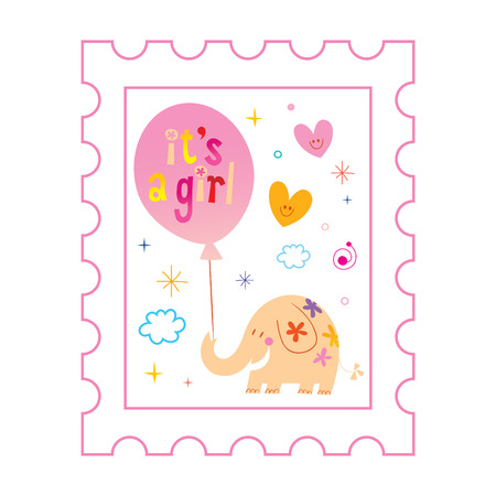 its a girl card with cute elephant