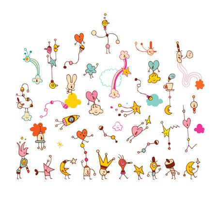 cartoon comic characters group illustration
