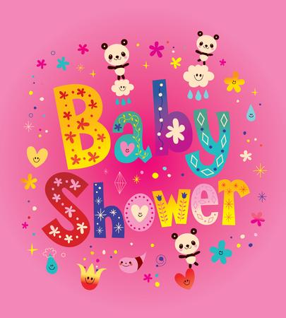 Baby Shower card with cute panda bears 向量圖像