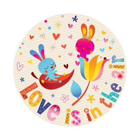 Love is in the air  - cute bunnies in love romantic love design 向量圖像