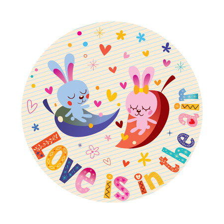 Love is in the air - cute bunnies in love romantic love design