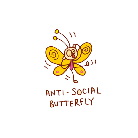 anti-social butterfly character