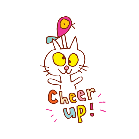 cat cartoon character with cheer up text