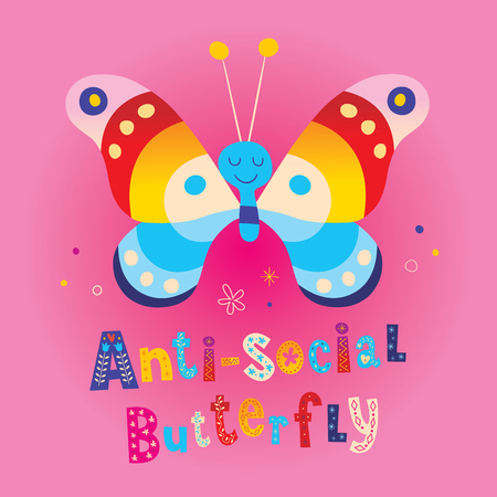 anti-social butterfly design Stock Illustratie