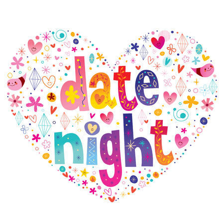 Colorful Date night text lettering in heart shape design