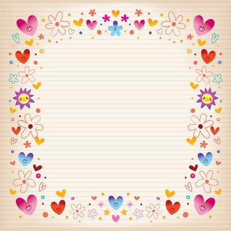 hearts and flowers retro frame design