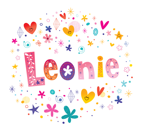 Floral and feminine design with the name Leonie  イラスト・ベクター素材
