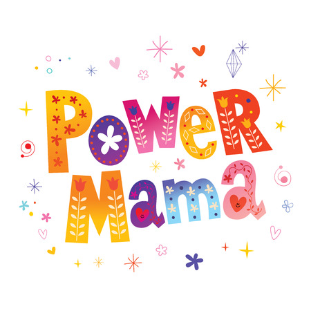 Colorful text design - Power Mama 일러스트